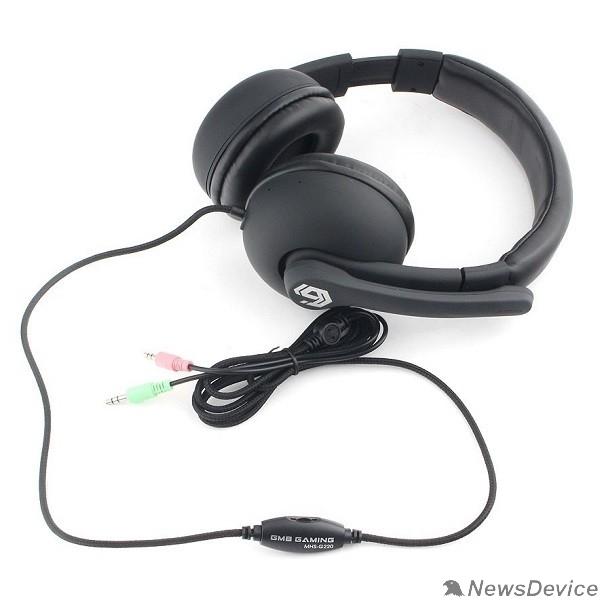 """Наушники Gembird MHS-G220, код """"Printbar"""", черный, soft touch,регулировка громкости, каб 2м"""