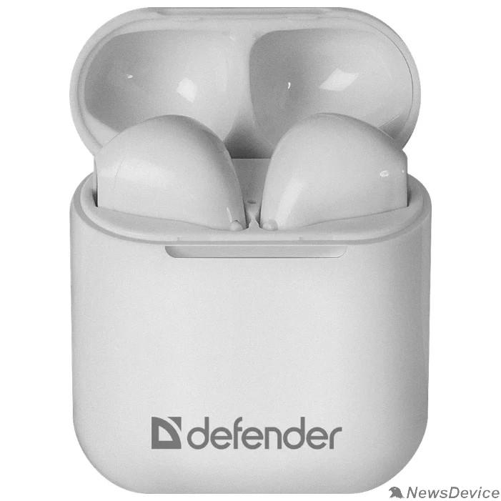 Наушники Defender Twins 637 белый,TWS, Bluetooth