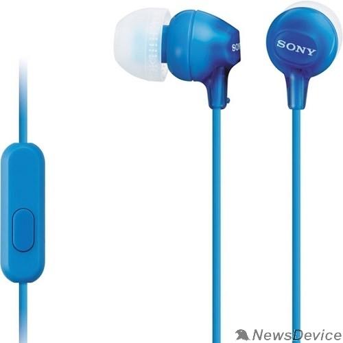 наушники Sony MDR-EX15AP 1.2м голубой проводные в ушной раковине (MDREX15APLI.CE7)
