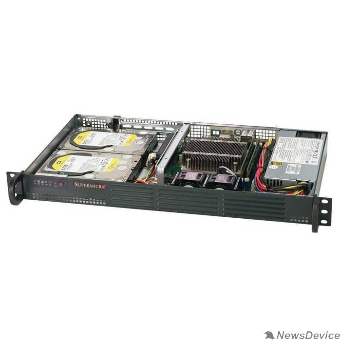 Сервер Supermicro SYS-5019C-L Корпус компьютерный Barebone 1U/socket E-2200/Up to 64GB/4 SATA3/2 RJ45/200W SYS-5019C-L