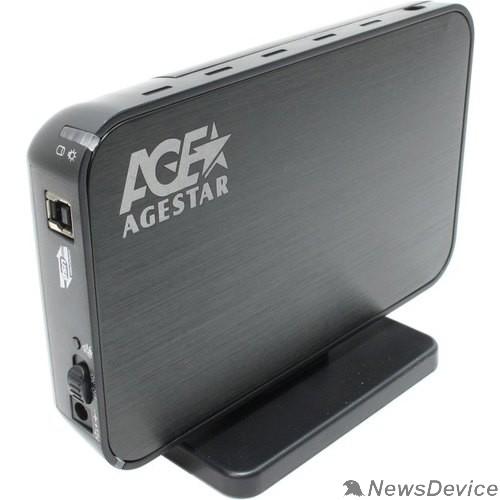 """Контейнер для HDD AgeStar 3UB3A8-6G (Black) Мобил рек, usb3.0 to 3,5""""hdd SATA алюминий"""