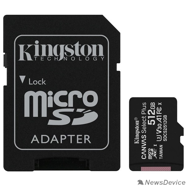 Карта памяти  Micro SecureDigital 512Gb Kingston Class 10 UHS-I U3 Canvas Select Plus (SD адаптер) 100MB/s SDCS2/512GB
