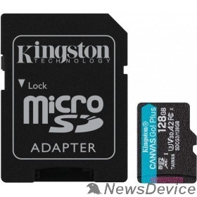 Карта памяти  Micro SecureDigital 128Gb Kingston Canvas Go Plus UHS-I U3 A2 + ADP (170/90 MB/s) SDCG3/128GB