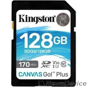 Карта памяти  SecureDigital 128Gb Kingston Canvas Go Plus SDXC UHS-I U3 V30 (170/90 Mb/s) SDG3/128GB