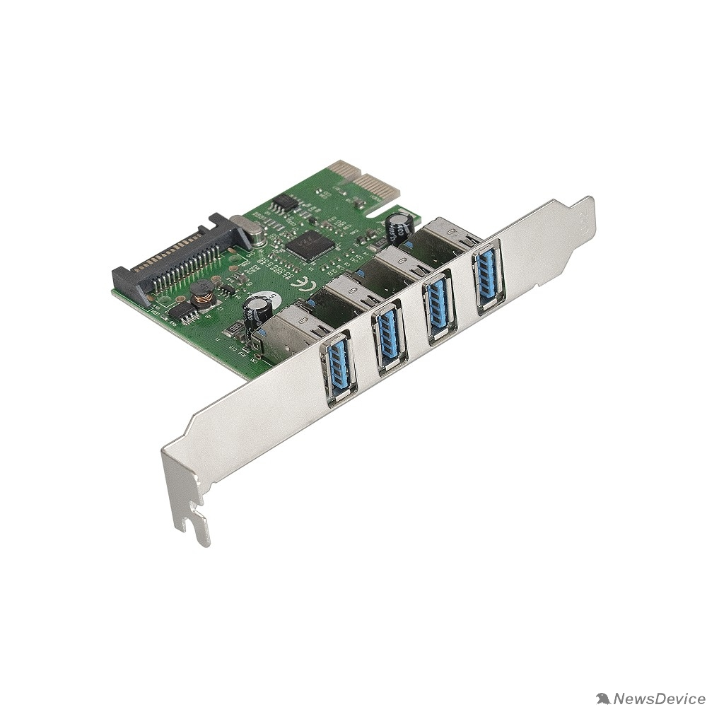 USB-концентраторы Exegate EX283716RUS Контроллер EXE-314 PCI-E 2.0, 4*USB3.0 ext, разъем доп.питания (OEM)
