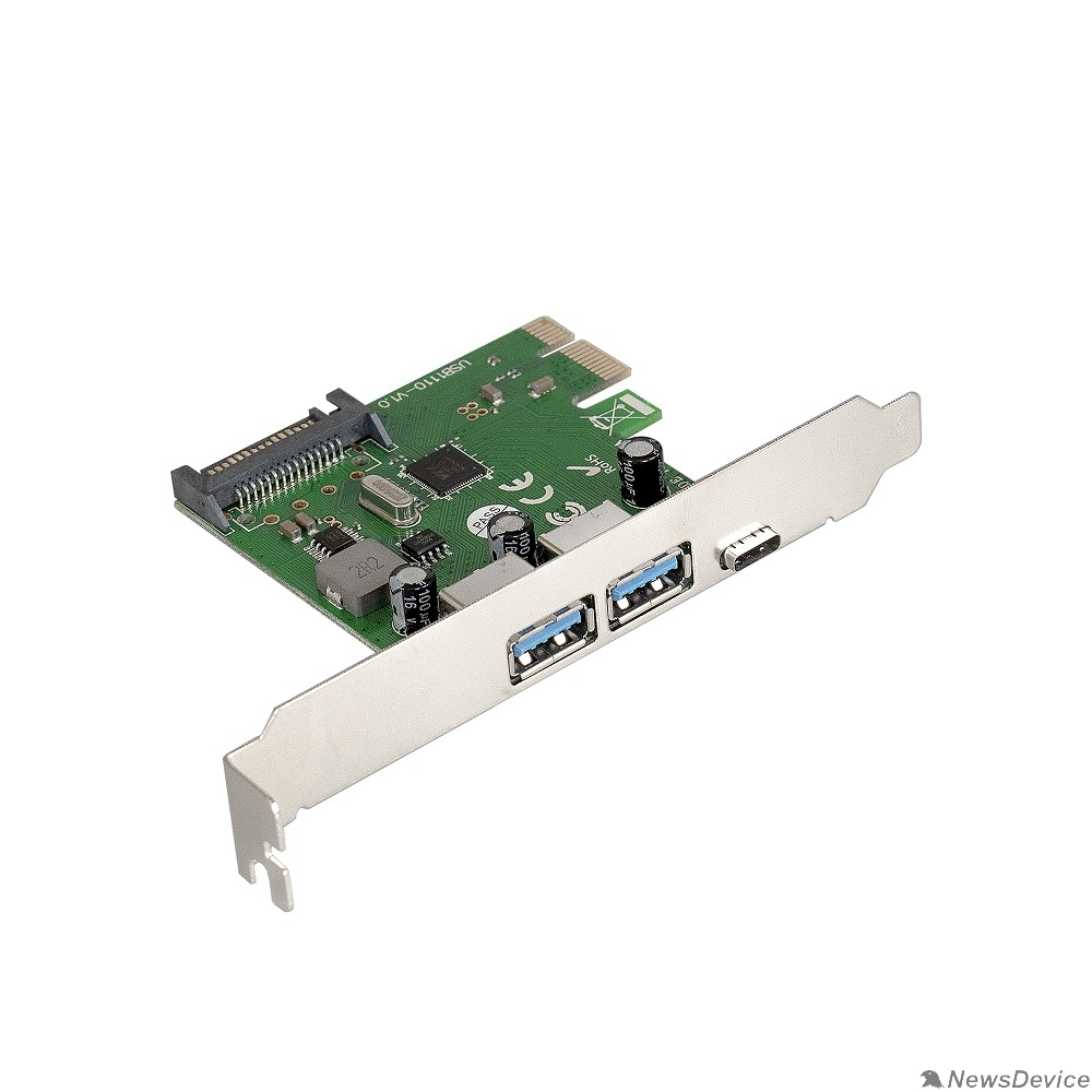 USB-концентраторы Exegate EX283719RUS Контроллер EXE-323 PCI-E 2.0, 2*USB3.0 ext + 1*Type-C, разъем доп.питания (OEM)