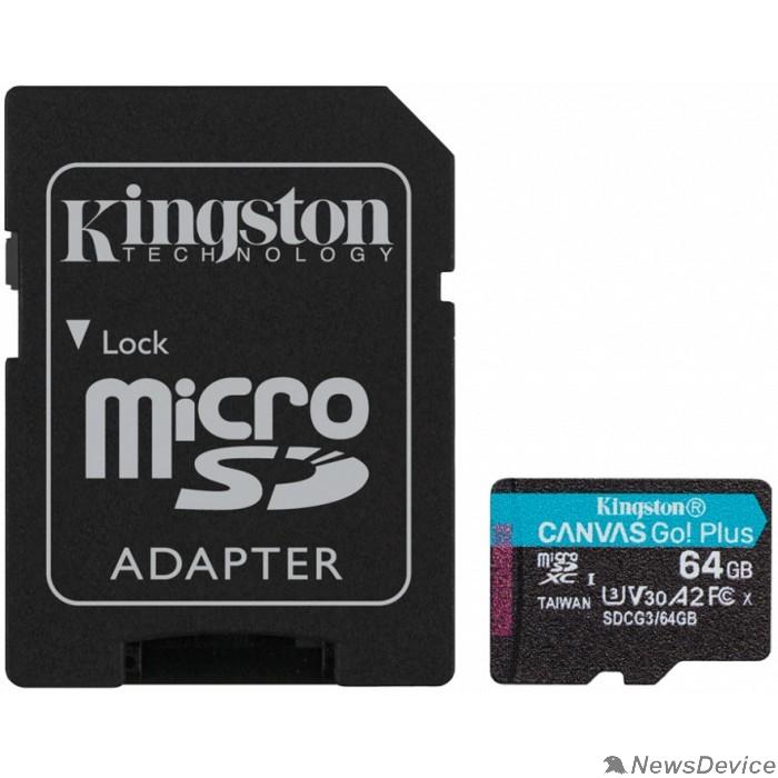 Карта памяти  Micro SecureDigital 64Gb Kingston Canvas Go Plus UHS-I U3 A2 + ADP (170/70 MB/s) SDCG3/64GB