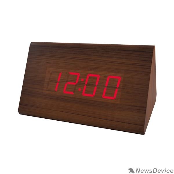 "Колонки Perfeo LED часы-будильник ""Trigonal"", коричневый / красная (PF-S711T) время, температура"