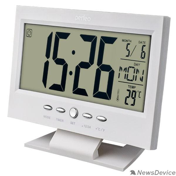 "Колонки Perfeo Часы-будильник ""Set"", белый, (PF-S2618) время, температура, дата"