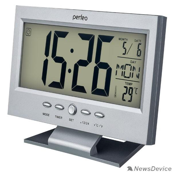 "Колонки Perfeo Часы-будильник ""Set"", серебряный, (PF-S2618) время, температура, дата"