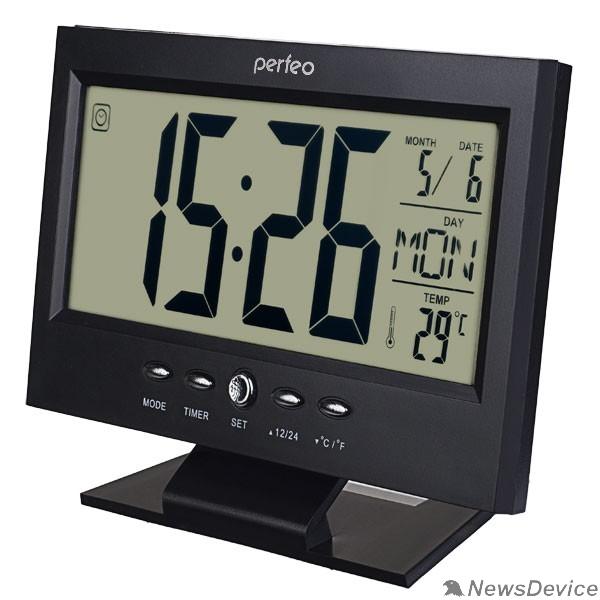 "Колонки Perfeo Часы-будильник ""Set"", чёрный, (PF-S2618) время, температура, дата"