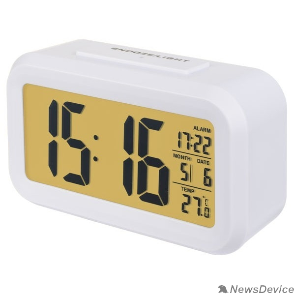 "Колонки Perfeo Часы-будильник ""Snuz"", белый, (PF-S2166) время, температура, дата"