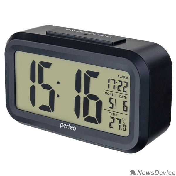 """Колонки Perfeo Часы-будильник """"Snuz"""", чёрный, (PF-S2166) время, температура, дата"""