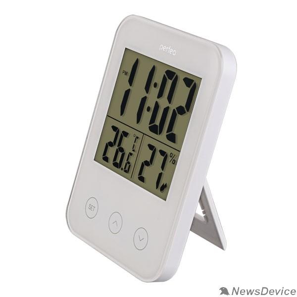 """Колонки Perfeo Часы-метеостанция """"Touch"""", белый, (PF-S681) время, температура, влажность"""