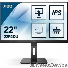 Монитор LCD AOC 21.5'' 22P2DU Черный IPS 1920х1080 75Hz 250cd 8bit 178/178 1000:1 4ms D-Sub DVI HDMI1.4 AudioOut 2x2W 4xUSB3.2 FlickerFree Pivot Tilt Swivel VESA