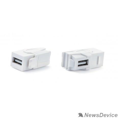 Монтажное оборудование Hyperline KJ1-USB-VA2-WH Вставка формата Keystone Jack с проходным адаптером USB 2.0 (Type A), 90 градусов, ROHS, белая