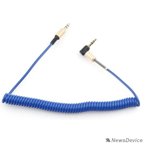 Кабель Кабель аудио (угловой) спиральный Cablexpert CCAB-02-35MMLC-1.8MU. 3.5 джек (M)/3.5 джек (M), синий, 1.8м, блистер