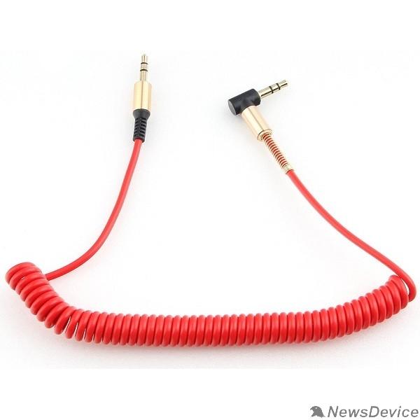 Кабель Кабель аудио (угловой) спиральный Cablexpert CCAB-02-35MMLC-1.8MR. 3.5 джек (M)/3.5 джек (M), красный, 1.8м, блистер