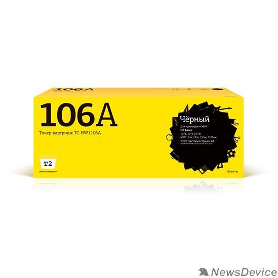 Расходные материалы T2  W1106A картридж (TC-HW1106A) для HP Laser 107a/107r/107w/MFP 135a/135r/135w/137fnw (1000 стр.) черный, с чипом