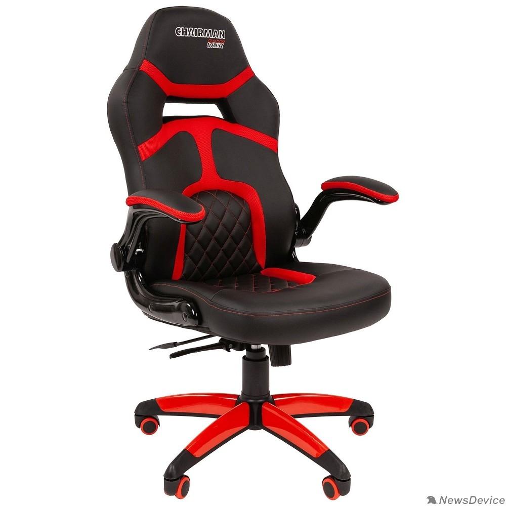 Офисные кресла Офисное кресло Chairman   game 18 Россия экопремиум черный/красный (7051189)