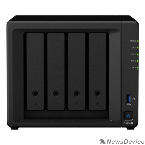 Дисковый массив Synology DS920+ Сетевое хранилище C2GhzCPU/4Gb(upto8)/RAID0,1,10,5,6/up to 4hot plug HDDs SATA(3,5' or 2,5')(up to 9 with DX517)/2xUSB3.0/2GigEth/iSCSI/2xIPcam(up to 40)/1xPS/3YW