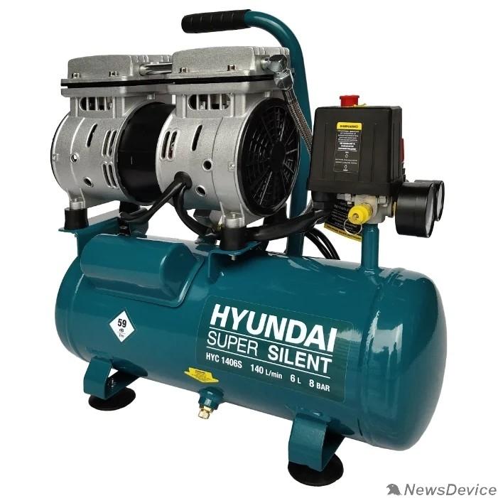 Компрессоры HYUNDAI HYC 1406S Компрессор поршневой, безмасляный  140 л/мин, 230 В, 1400 об/мин., ресивер 6 л, поршней 2 шт., давление 8 бар., 14 кг