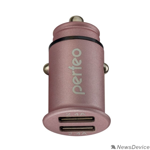 "Аксессуар PERFEO Автомобильное зарядное устройство с двумя разъемами USB, 2x2.4А, розовый, ""AUTO 2"" (PF_A4458)"