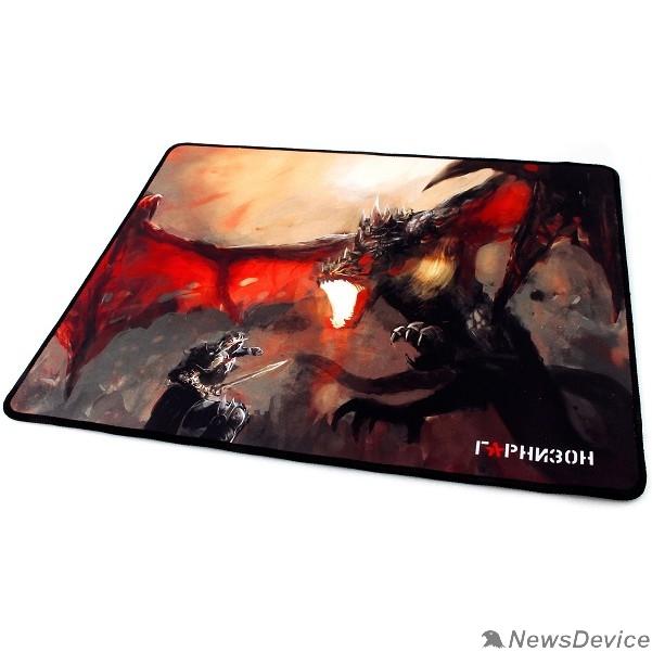 "Коврики Коврик для мыши Гарнизон GMP-205, рисунок- ""дракон"", размеры 437*350*3мм, ткань+резина, оверлок"