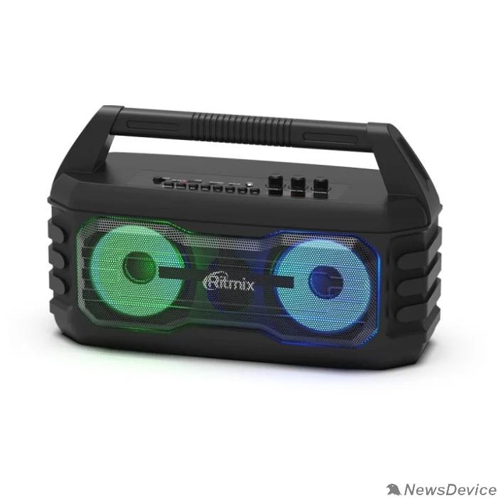 Колонки RITMIX SP-610B black AUX, USB, microSD (MP3, WAV, WMA, APE), RGB-подсветка, эквалайзер, дисплей: LED, возможность, микрофонный вход Jack 6,3 мм, 2000 мАч, microUSB DC 5В 1A, 38*23*16 см, пластик, чер