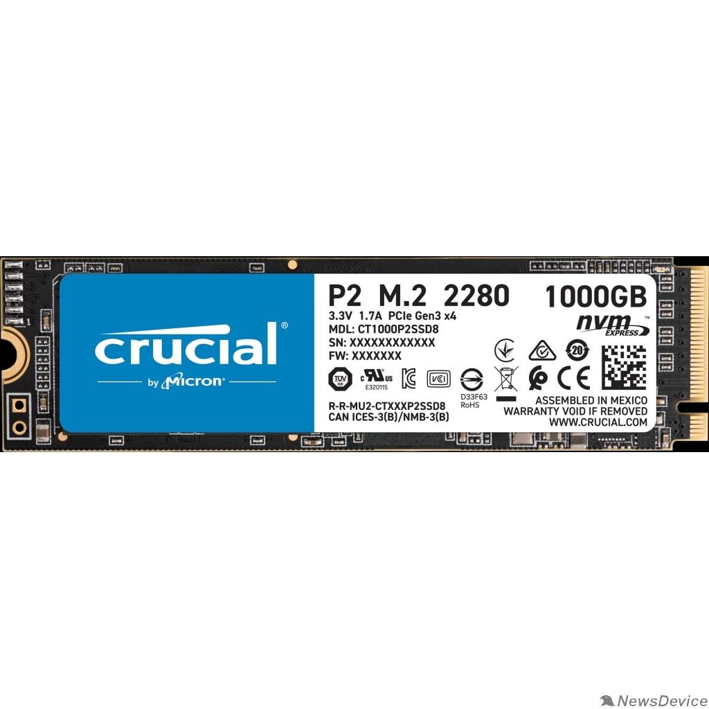 накопитель Crucial SSD 1000GB P2 M.2 NVMe PCIEx4 80mm Micron 3D NAND  2300/1150 MB/s CT1000P2SSD8