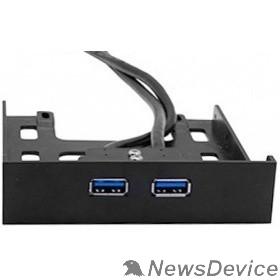 """USB-концентраторы Exegate EX280446RUS Планка USB на переднюю панель Exegate U3H-615, 3,5"""", 2*USB 3.0, черная, подсоединение к мат. плате"""