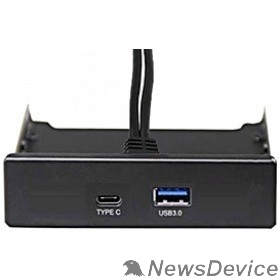 "USB-концентраторы Exegate EX280447RUS Планка USB на переднюю панель Exegate U3H-617, 3,5"", 1*USB3.0+1*TypeC, черная, подсоед-е к мат. плат"