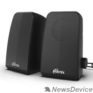 Колонки RITMIX SP-2075 Black 6 Вт (2*3 Вт), 45 мм, USB, jack 3.5 мм, 60-20000 Гц, рег. громкости, пластик, 92*158*110 мм, пластик, черный