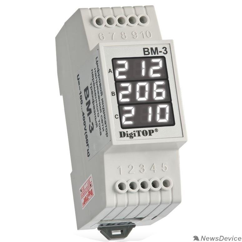 DigiTOP Реле, терморегуляторы, таймеры DigiTOP Вм-3 (WHITE) Вольтметр на DIN-рейку, трехфазный, 40-400В