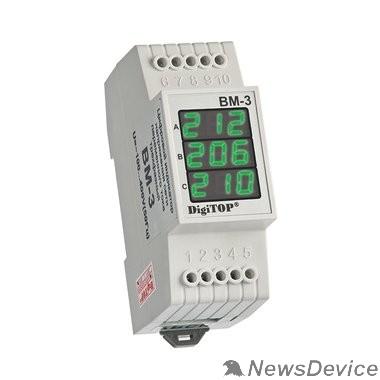 DigiTOP Реле, терморегуляторы, таймеры DigiTOP Вм-3 (GREEN) Вольтметр на DIN-рейку, трехфазный, 40-400В