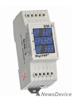 DigiTOP Реле, терморегуляторы, таймеры DigiTOP Вм-3 (BLUE) Вольтметр на DIN-рейку, трехфазный, 40-400В