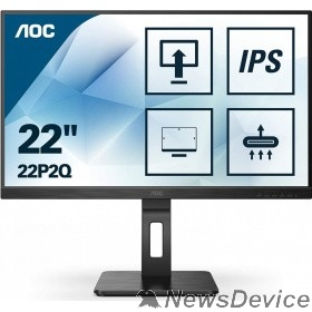"Монитор LCD AOC 21.5"" 22P2Q Black с поворотом экрана IPS, 1920x1080, 75Hz, 4 ms, 178°/178°, 250 cd/m, 50M:1, +DVI, +HDMI, +2xDisplayPort 1.2, +4xUSB 3.2, +MM"