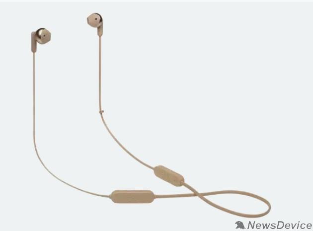 Наушники Гарнитура вкладыши JBL T215BTC золотистый беспроводные bluetooth шейный обод (JBLT215BTCGD)