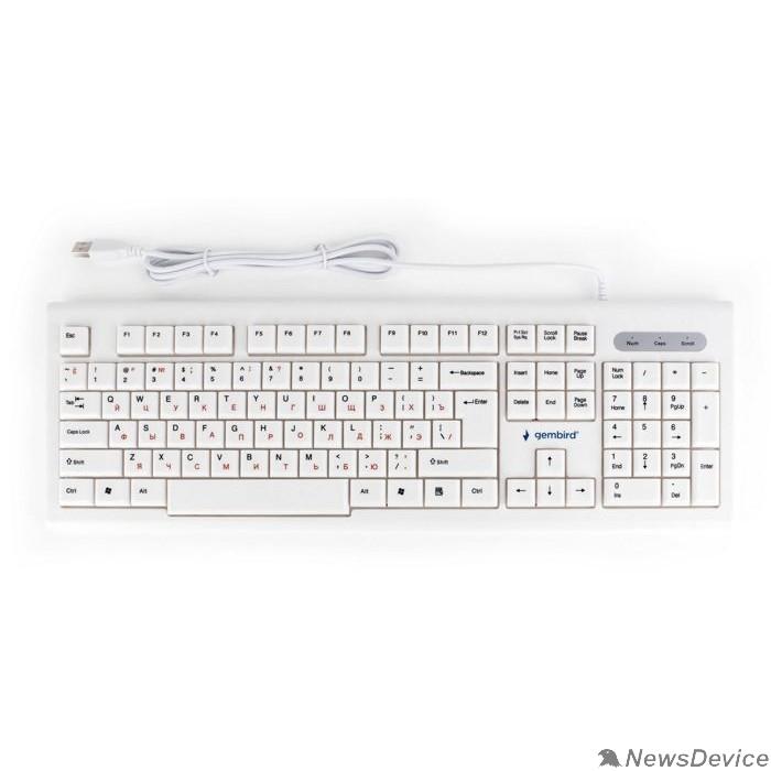 Клавиатура Клавиатура Gembird KB-8354U,USB, бежевый/белый, 104 клавиши, кабель 1,45м