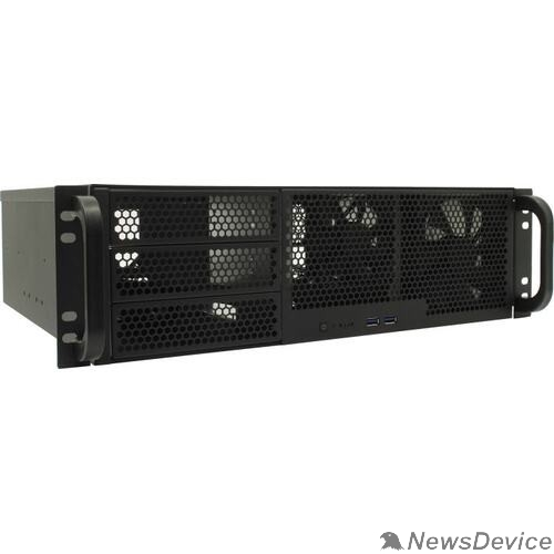 "Корпус Procase RM338-B-0 Корпус 3U server case,3x5.25+8HDD,черный,без блока питания,глубина 380мм, MB CEB 12""x10.5"""