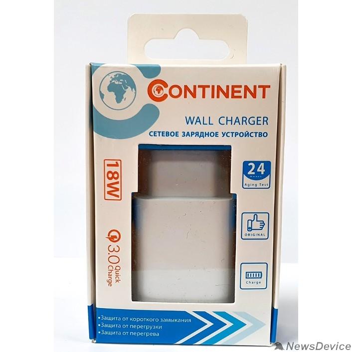 Аксессуар СЗУ Continent 1 TYPE-C+USB A 18W QC 3.0 Charger Input:100-240V ,PN18-201 WT