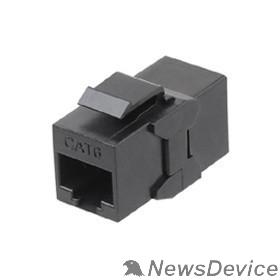 Монтажное оборудование Hyperline CA2-KJ-C6-BK Проходной адаптер (coupler), RJ-45(8P8C) формата Keystone Jack, категория 6, 4 пары, черный