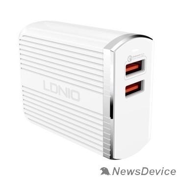 Аксессуар LDNIO LD_B4359 A2502Q/ Сетевое ЗУ + Кабель Micro/ QC 3.0/ 2 USB Auto-ID/ Выход: 5V_9V_12V, 30W/ White