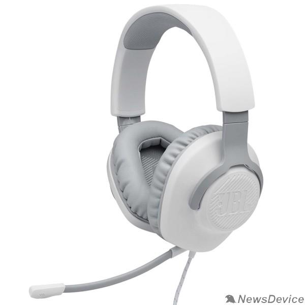Наушники Наушники с микрофоном JBL Quantum 100 белый 1.2м мониторные оголовье (JBLQUANTUM100WHT)