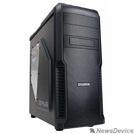 """Корпус Корпус Zalman Z3 Plus, без БП, тощина металла 0.4мм, боковое окно, черный,  ATX, Видеокарта до 360мм, 7 слотов расширения, 2 внешние секции 5.25"""", 4 внутренние 3.5"""", охлаждение спереди (120мм fan x 2)"""