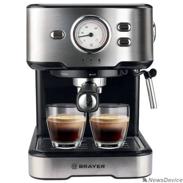 Кофеварки BRAYER 1101BR Кофеварка рожковая  , 1,5 л, 1200 Вт, 20 бар, капучинатор, термометр