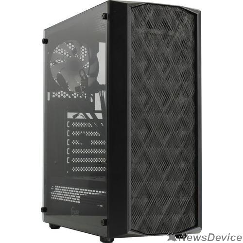Корпус Powercase CMDM-L1 Корпус Diamond Mesh LED, Tempered Glass, 1x 120mm 5-color fan, чёрный, ATX  (CMDM-L1)