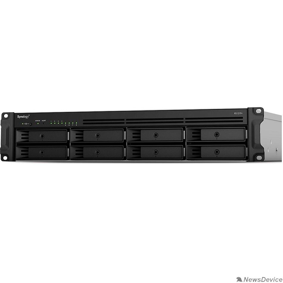 Дисковый массив Synology RS1221+ Сетевое хранилище QC2.2GHzCPU/4GbDDR4(upto32)/RAID0,1,5,6,10/upto 8 hot plug HDDs SATA(3,5'or2,5')(upto 12 with RX418)/2xUSB3.2/1eSATA/iSCSI/4xGbE(+1Expslot)/2xIPcam(upto 40)