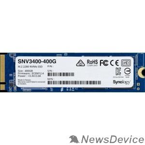 Дисковый массив Synology SNV3400-400G 400Gb SSD SNV3000 Series PCIe 3.0 x4 ,M.2 2280, R3100/W550 Mb/s, IOPS 205K/40K, MTBF 1,8M