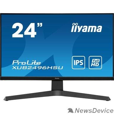 """Монитор IIYAMA 23.8"""" XUB2496HSU-B1 черный IPS 1920x1080 75Hz 1ms 16:9 250cd 178/178 8bit(6bit+FRC) HDMI2.0 DisplayPort1.2 FreeSync 2xUSB2.0 2x2W VESA"""